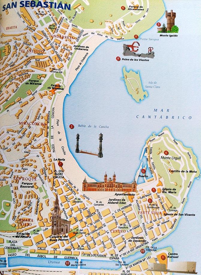 San Sebastian España Mapa.Mapa De San Sebastian